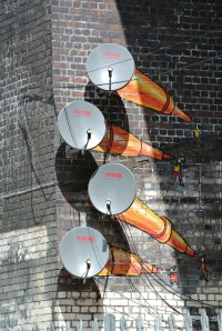 Graffiti at the Custard Factory - how to hide your satellite dish