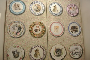 The ladies - wallpapered with cats on plates