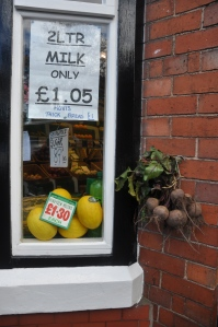 Note the beetroots hanging outside for sale.