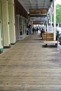 Wooden side walk.