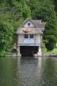 Boat house with Canadian Goose nesting in the thatch.  I think it will all end in tears though.