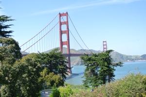 Golden Gate Bridge in the sun.