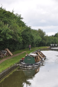 Sunken narrowboat.