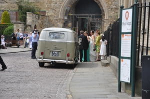 The wedding vehicle.