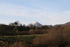 Croagh Patrick from the other side.  Still snowy.
