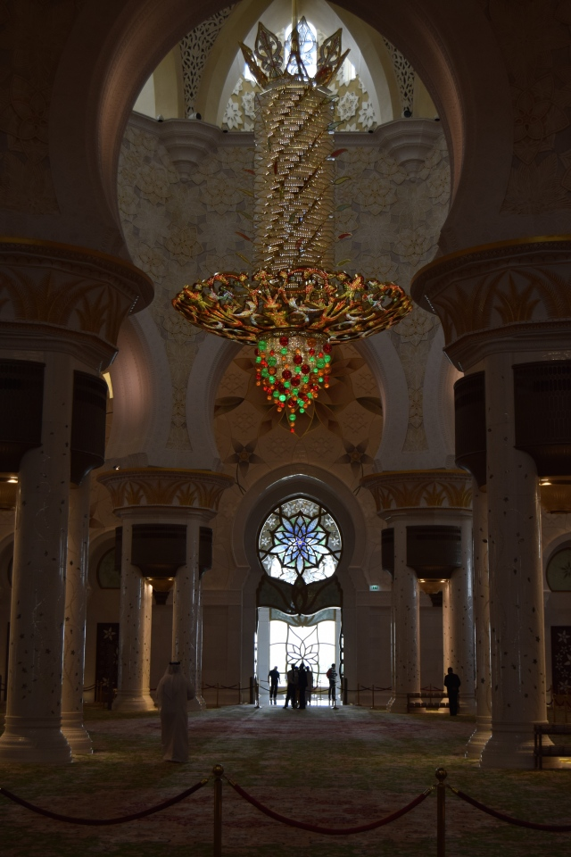 One of the three spectacular chandeliers