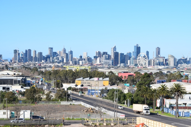 View towards the city - the bridge over the Maribyrnong.