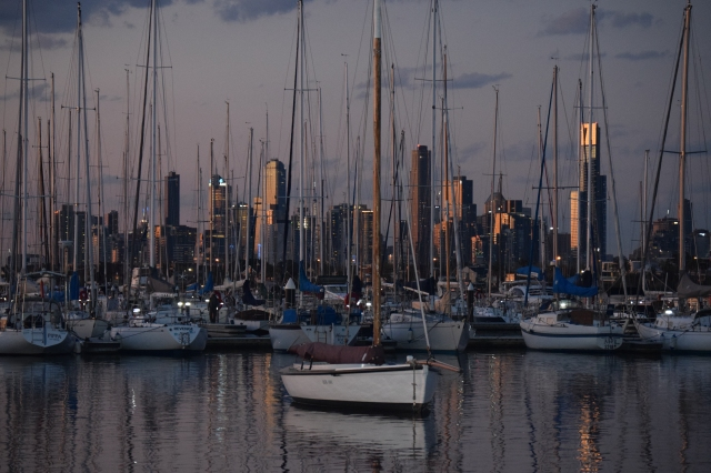 Yachts in the sunset